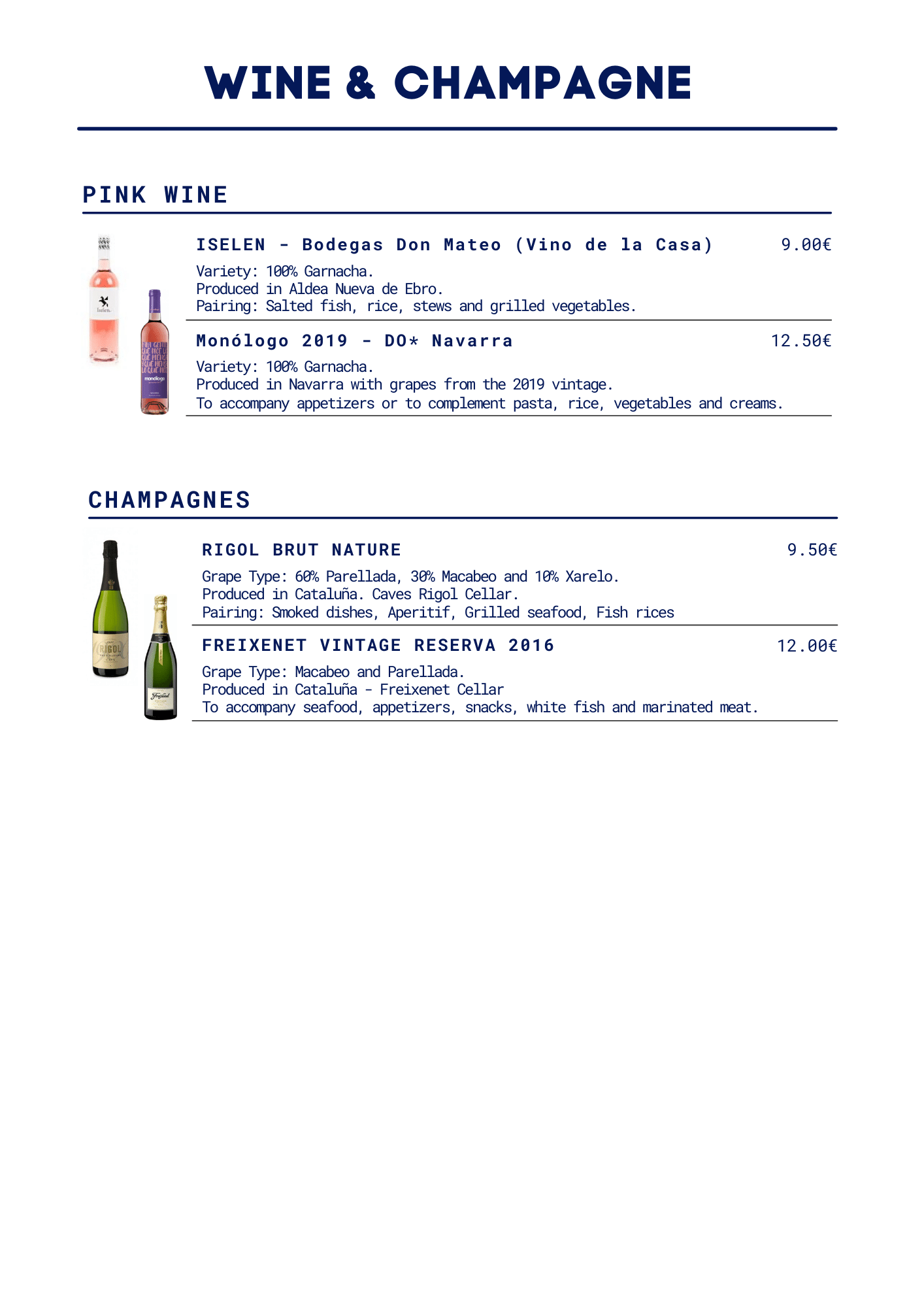 our wines and champagnes